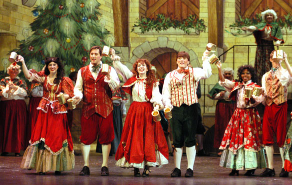Characters on the stage in Christmas play